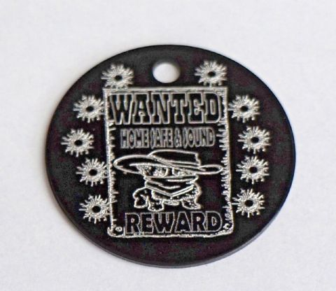 FUNNY DOG TAG WANTED REWARD COWBOY WESTERN 35MM COLOURED LARGE PERSONALISED